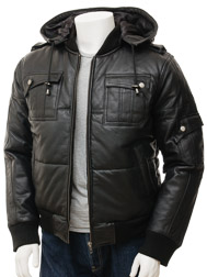Men's Black Leather Bomber Jacket: Buckland