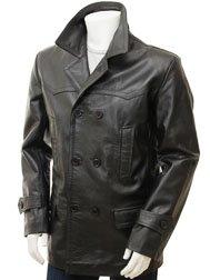 Men's Black Leather Peacoat: Bursdon