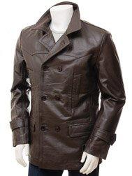 Men's Brown Leather Peacoat: Bursdon