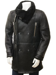 Men's Black Sheepskin Coat: Chardstock