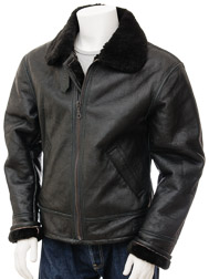Men's Black Sheepskin Aviator Jacket: Chemnitz