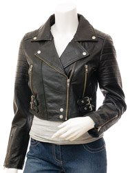 Women's Black Leather Biker Jacket: Childersburg