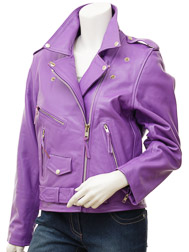 Women's Purple Leather Biker Jacket: Coden