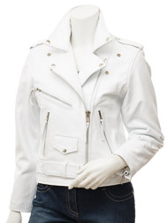 Women's White Leather Biker Jacket: Coden