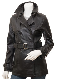 Womens Black Leather Trench Coat: Columbia