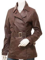 Women's Brown Leather Trench Coat: Columbia