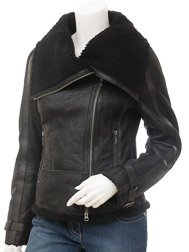 Womens Biker Sheepskin Leather Jacket in Black: Cove
