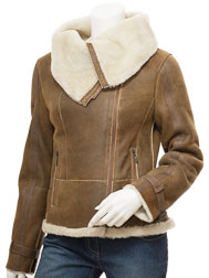 Womens Biker Sheepskin Leather Jacket in Tan: Cove