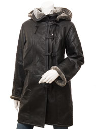 Women's Black Shearling Duffle Coat: Daviston