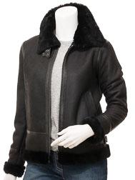 Women's Black Shearling  Bomber Jacket: Delta