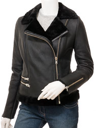 Women's Black Shearling Biker Jacket: Demopolis
