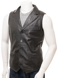 Men's Black Leather Waistcoat: Digby