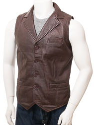 Men's Brown Leather Waistcoat: Digby