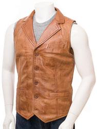 Men's Tan Leather Waistcoat: Digby