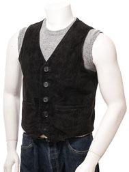 Men's Black Suede Waistcoat: Dolton