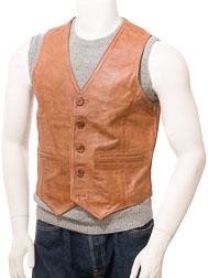 Men's Tan Leather Waistcoat: Dolton