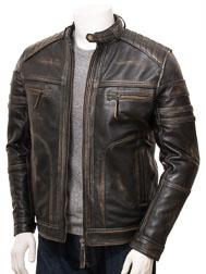 Men's Vintage Leather Biker Jacket: Eggesford