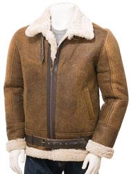 Men's Tan Sheepskin Aviator Jacket: Farringdon