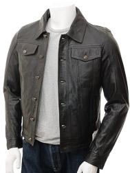 Mens Black Leather Trucker Jacket: Foggia