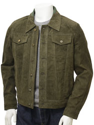 Men's Olive Suede Trucker Jacket: Foggia