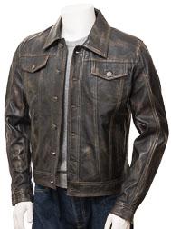 Mens Leather Trucker Jacket in Vintage: Foggia