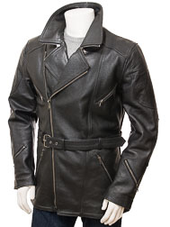 Men's Black Belted Leather Coat: Highweek