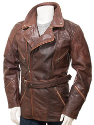 Men's Brown Belted Leather Coat: Highweek