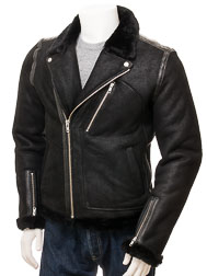 Men's Black Shearling Biker Jacket: Kenton