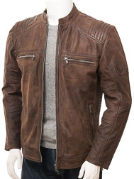 Men's Brown Leather Biker Jacket: Knowstone