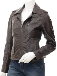 Ladies Leather Biker Jacket in Brown: Niagara