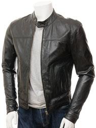 Men's Black Leather Biker Jacket: Oldenburg