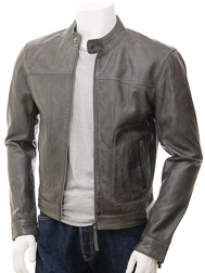 Men's Grey Leather-Biker Jacket: Oldenburg