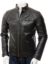 Men's Black Leather Biker Jacket: Sibiu
