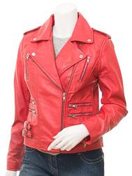 Ladies Red Leather Biker Jacket: Toronto
