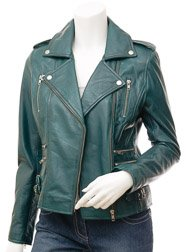 Ladies Leather Biker Jacket in Teal: Toronto