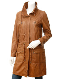 Ladies Tan Leather Parka: Dayton