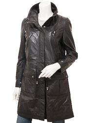Ladies Black Leather Parka: Dayton