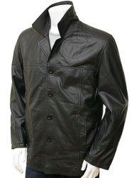 Men's Black Leather Reefer Jacket: Zurich
